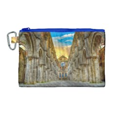 Abbey Ruin Architecture Medieval Canvas Cosmetic Bag (large) by Celenk