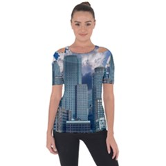 Tower Blocks Skyscraper City Modern Short Sleeve Top by Celenk