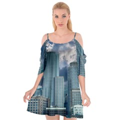 Tower Blocks Skyscraper City Modern Cutout Spaghetti Strap Chiffon Dress by Celenk