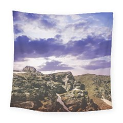 Mountain Snow Landscape Winter Square Tapestry (large)