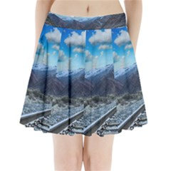 Nature Landscape Mountains Slope Pleated Mini Skirt