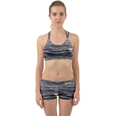 Texture Background Water Back Web Sports Bra Set