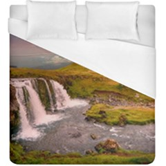 Nature Mountains Cliff Waterfall Duvet Cover (king Size) by Celenk
