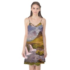 Nature Mountains Cliff Waterfall Camis Nightgown