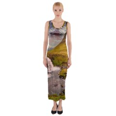 Nature Mountains Cliff Waterfall Fitted Maxi Dress
