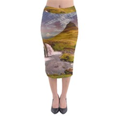 Nature Mountains Cliff Waterfall Midi Pencil Skirt