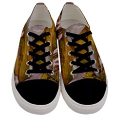 Nature Mountains Cliff Waterfall Men s Low Top Canvas Sneakers