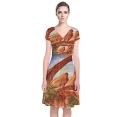 Canyon Desert Rock Scenic Nature Short Sleeve Front Wrap Dress
