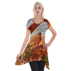 Canyon Desert Rock Scenic Nature Short Sleeve Side Drop Tunic by Celenk