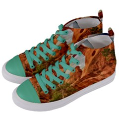 Canyon Desert Rock Scenic Nature Women s Mid Top Canvas Sneakers by Celenk
