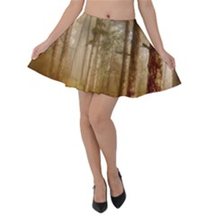 Forest Trees Wood Branc Velvet Skater Skirt