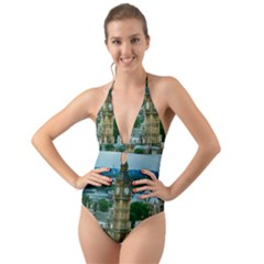 London England City Landmark Halter Cut Out One Piece Swimsuit