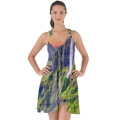 Waterfall Landscape Nature Scenic Show Some Back Chiffon Dress by Celenk