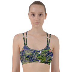 Waterfall Landscape Nature Scenic Line Them Up Sports Bra