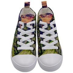Waterfall Landscape Nature Scenic Kid s Mid Top Canvas Sneakers