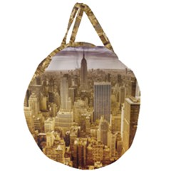 New York Empire State Building Giant Round Zipper Tote