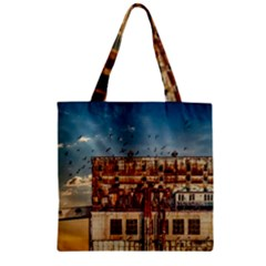 Ruin Abandoned Building Urban Zipper Grocery Tote Bag by Celenk