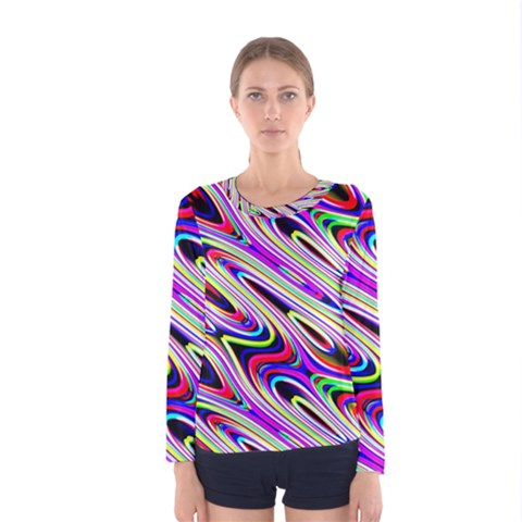 Multi Color Wave Abstract Pattern Women s Long Sleeve Tee by Celenk