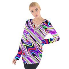 Multi Color Wave Abstract Pattern Tie Up Tee by Celenk