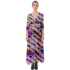 Multi Color Wave Abstract Pattern Button Up Boho Maxi Dress