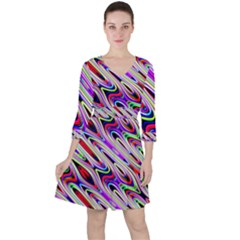 Multi Color Wave Abstract Pattern Ruffle Dress