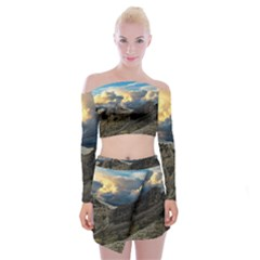Landscape Clouds Scenic Scenery Off Shoulder Top With Mini Skirt Set