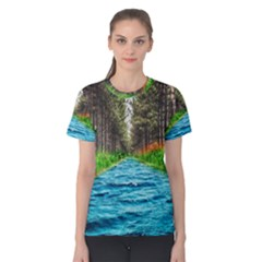 River Forest Landscape Nature Women s Cotton Tee by Celenk