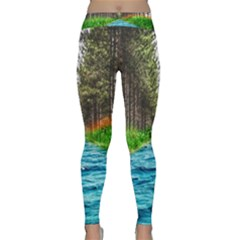 River Forest Landscape Nature Classic Yoga Leggings by Celenk