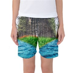 River Forest Landscape Nature Women s Basketball Shorts