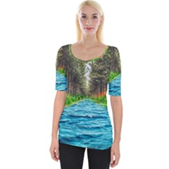River Forest Landscape Nature Wide Neckline Tee