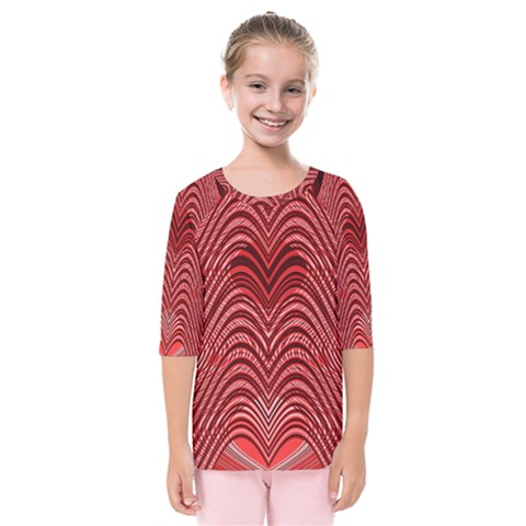 Red Wave Pattern Kids  Quarter Sleeve Raglan Tee by Celenk