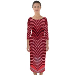 Red Wave Pattern Quarter Sleeve Midi Bodycon Dress