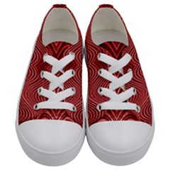 Red Wave Pattern Kids  Low Top Canvas Sneakers