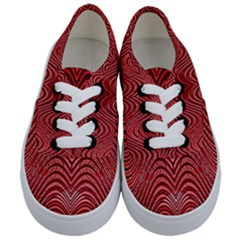 Red Wave Pattern Kids  Classic Low Top Sneakers