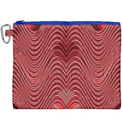 Red Wave Pattern Canvas Cosmetic Bag (xxxl) by Celenk