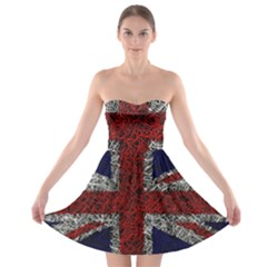 Union Jack Flag Uk Patriotic Strapless Bra Top Dress by Celenk