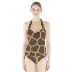 Background Texture Giraffe Halter Swimsuit by Celenk