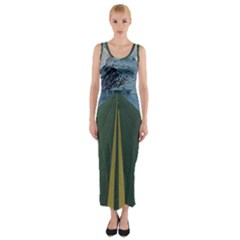 Road Ice Landscape Fitted Maxi Dress
