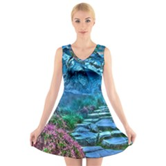 Pathway Nature Landscape Outdoor V-neck Sleeveless Skater Dress