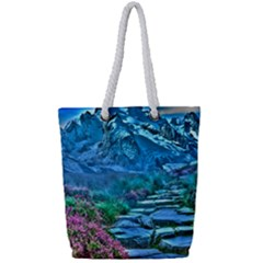 Pathway Nature Landscape Outdoor Full Print Rope Handle Tote (small)