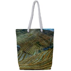 Rice Field China Asia Rice Rural Full Print Rope Handle Tote (small) by Celenk