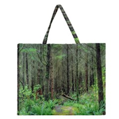 Forest Woods Nature Landscape Tree Zipper Large Tote Bag