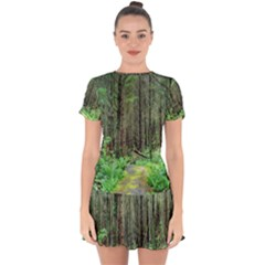 Forest Woods Nature Landscape Tree Drop Hem Mini Chiffon Dress by Celenk