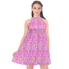 Pink Heart Drops Halter Neckline Chiffon Dress  by snowwhitegirl