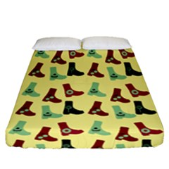 Yellow Boots Fitted Sheet (queen Size)
