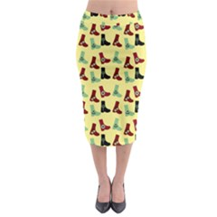 Yellow Boots Midi Pencil Skirt by snowwhitegirl