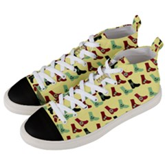 Yellow Boots Men s Mid Top Canvas Sneakers by snowwhitegirl