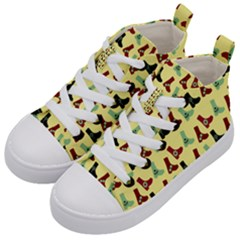 Yellow Boots Kid s Mid Top Canvas Sneakers by snowwhitegirl