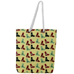 Yellow Boots Full Print Rope Handle Tote (large) by snowwhitegirl