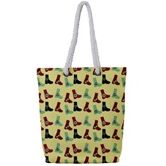 Yellow Boots Full Print Rope Handle Tote (small) by snowwhitegirl